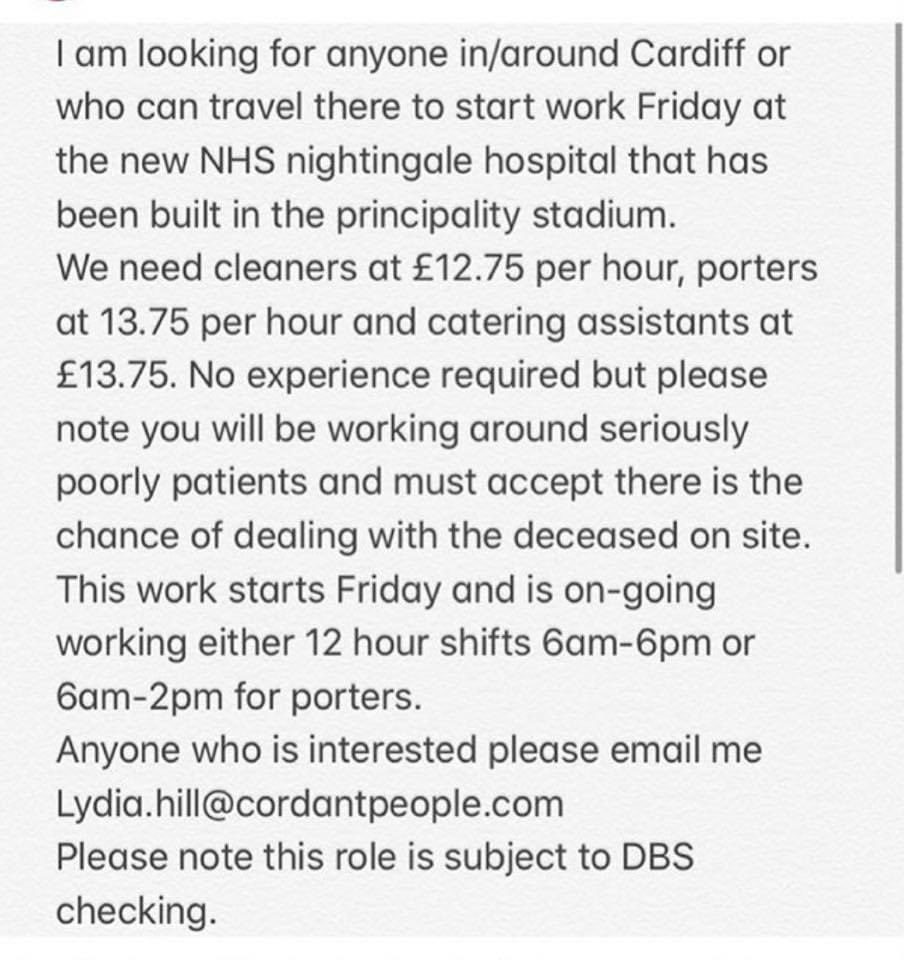 CLEANERS - PORTERS - CATERING ASSISTANTS NEEDED!