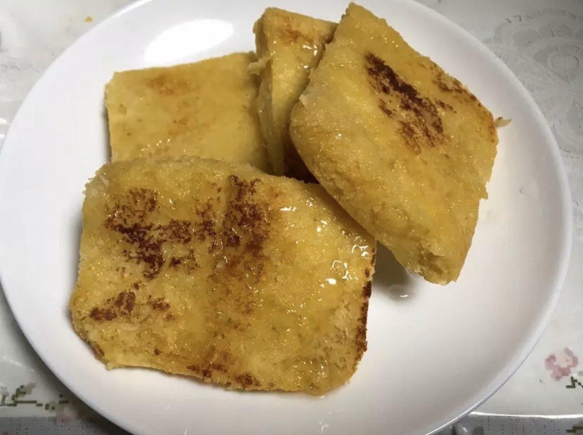 うん。フレンチトーストたびたい。これは前に作ったパン粉フレンチトースト。