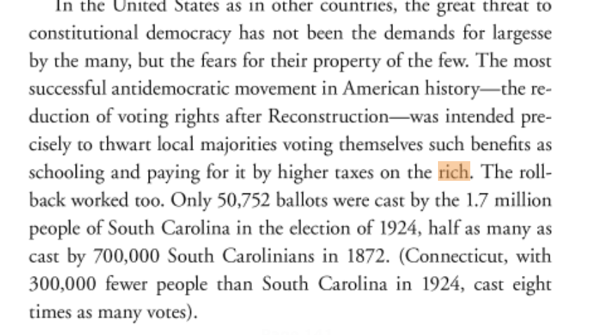Since 1965, explicit attacks on universal voting rights have gone out of style in the US. But that doesnt mean the *contest* over voting rights has ended. This is a theme of both my 2018 book (see below) and the next installment launching May. harpercollins.com/9780062978417/…