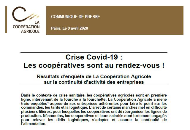 """[CP ] """"Crise Covid-19 : les coopératives sont au rendez-vous !"""" Résultats d'enquête de @lacoopagricole sur la continuité d'activité des entreprises ⤵️  Cc @ChargeDom @dguillaume26 @BrunoLeMaire @EPhilippePM @AgnesRunacher @Elisabeth_Borne @FlorencePradier"""