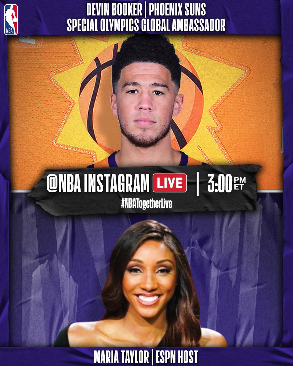 ☄️ @DevinBook of the @suns will join @MariaTaylor on our @NBA IG Live at 3:00pm/et to discuss a number of topics including whats keeping him busy during this hiatus and his new role as a @SpecialOlympics Global Ambassador.  #NBATogetherLive https://t.co/JPzgkrZoVt