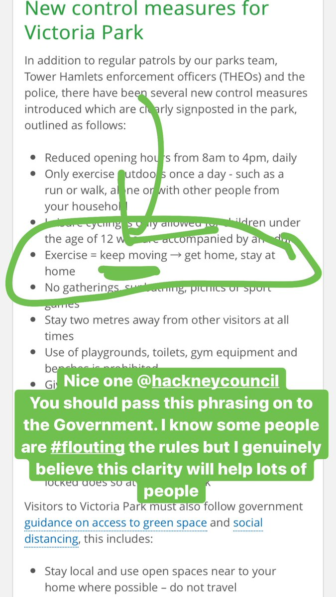 Love this from @hackneycouncil The perfect wording. This should be the standard wording @GOVUK website which currently says  'stopping all public gatherings of more than two people'. That  wording could be clearer? Exercise = keep it moving is lovely and clear 💚 RT https://t.co/BqGjA3ziLS