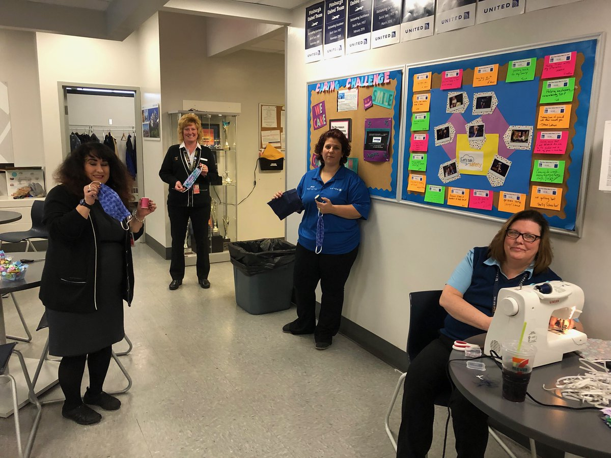 Thank you to Team HNL and BDL for sharing their caring actions to help fellow cities with making masks! Team Pittsburgh jumping in and doing their part to keep our employees safe-we applaud your want to help others. @weareunited