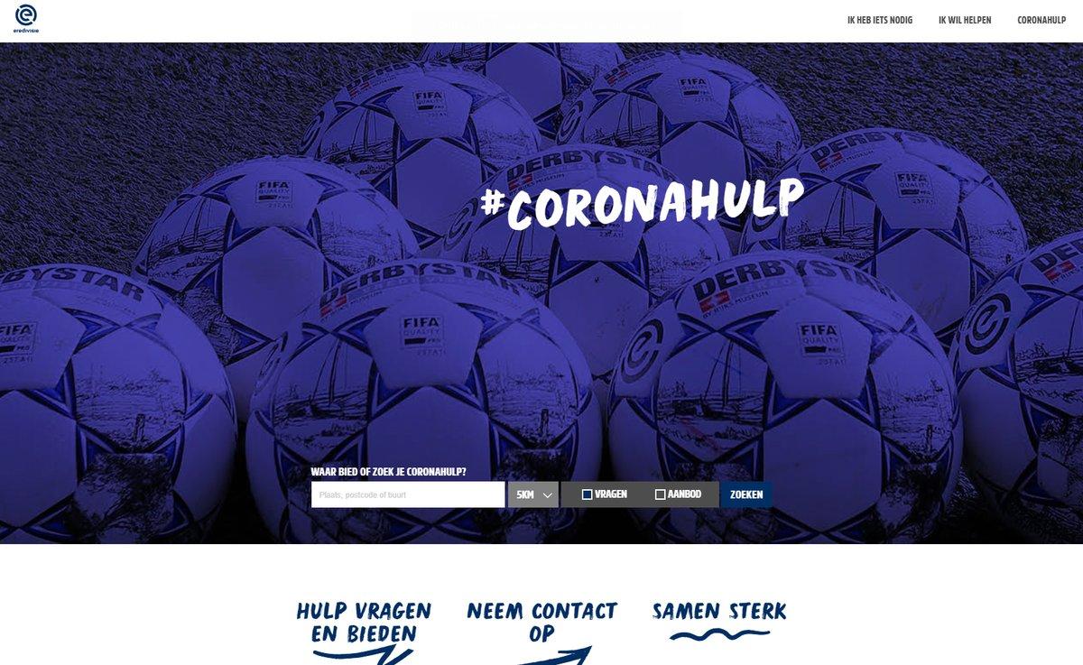 Vandaag lanceren wij ism met @NLvoorelkaar, de Eredivisieclubs en partners het landelijk vrijwilligersplatform https://t.co/grjgM3Czul. Doel: zoveel mogelijk hulpvragen tijdens de Coronacrisis opsporen en invullen.  Lees meer: https://t.co/eo6jC57P1Z  #onsvoetbal #coronavirus https://t.co/hxxWeMlmU7