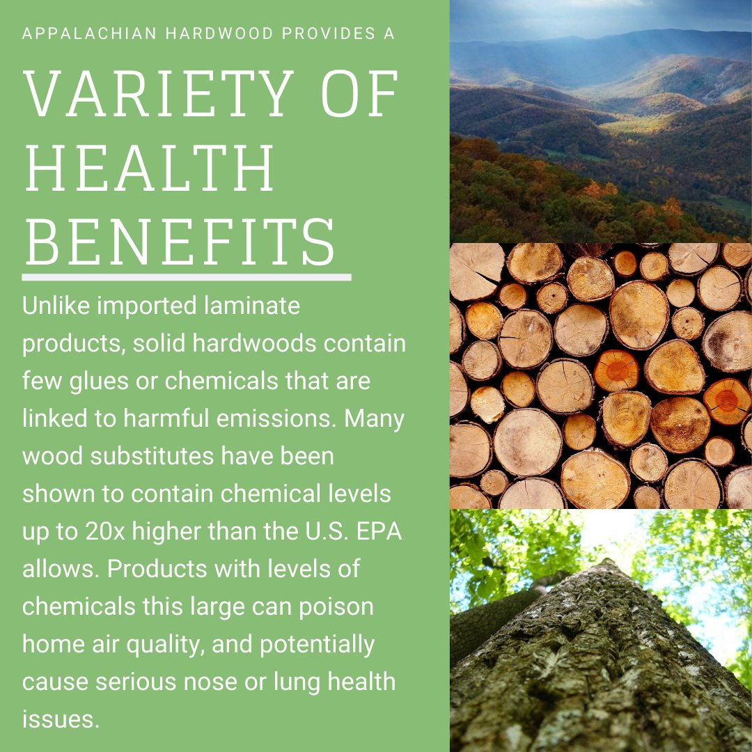 Ever wondered why you should choose Appalachian Hardwood over other alternatives?   Because Appalachian Hardwoods provides a variety of health benefits that others cant!  #appalachianhardwood #lumber #manufacturer