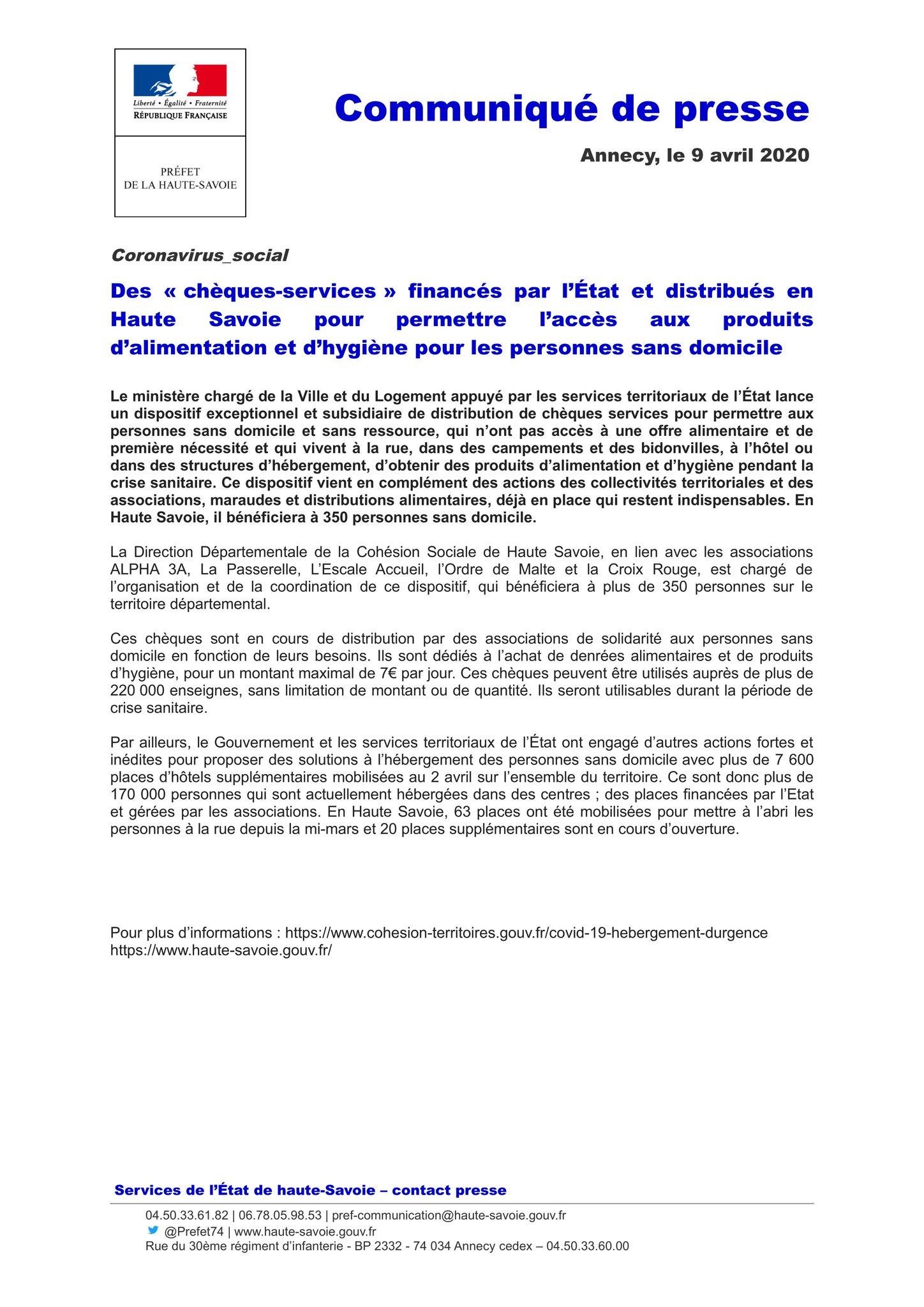 """Préfet de la Haute-Savoie on Twitter: """"#Coronavirus Des « chèques"""