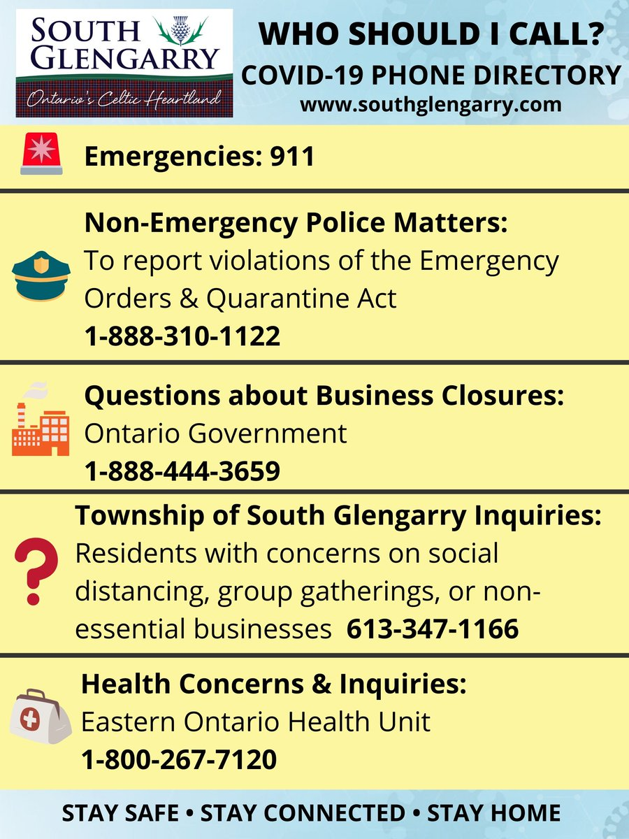 South Glengarry On Twitter Unsure Who To Call Southglengarry Is Able To Respond To A Number Of Calls Under The Emergency Management Civil Protection Act But Some Calls May Be Better