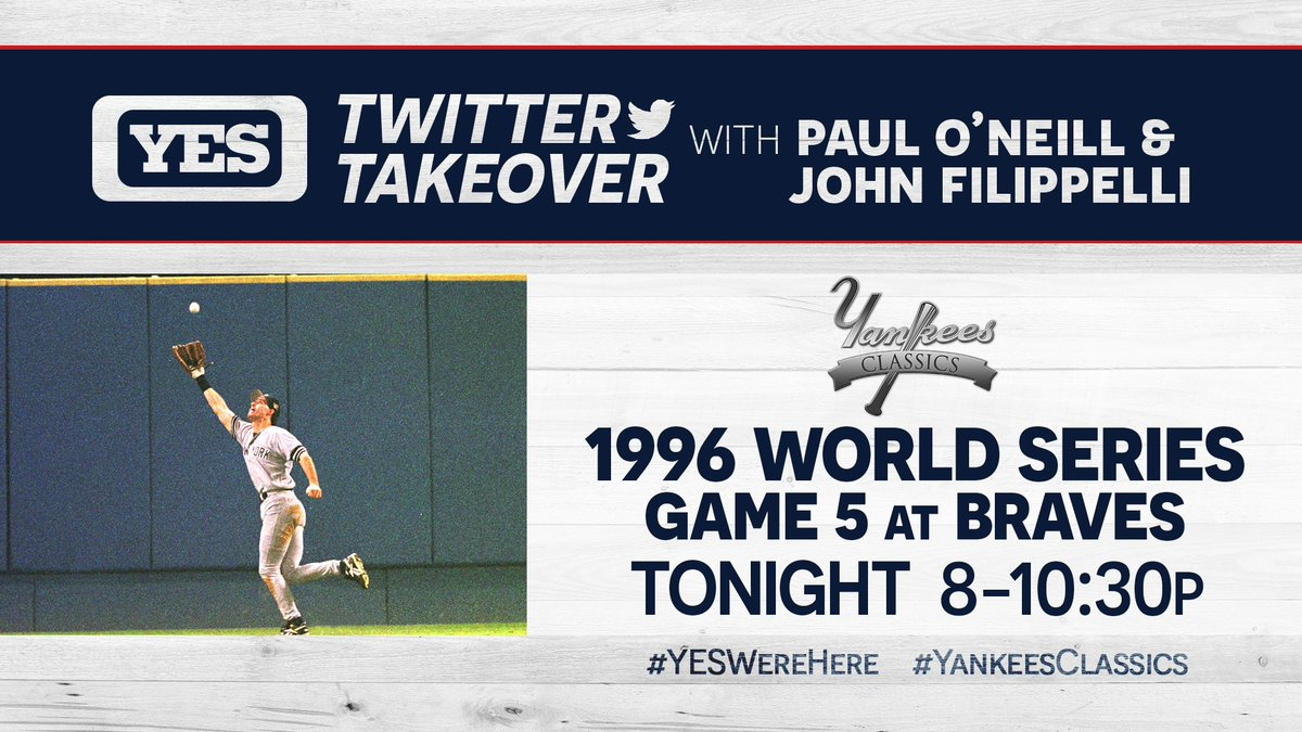 Believe it or not... @PaulONeillYES wasn't originally in the Yankees lineup for Game 5 of the 1996 World Series.  After speaking with Paul prior to the game, Joe Torre changed his mind...  Don't miss his Twitter takeover on YES starting at 8 PM! #YESWereHere #YankeesClassics
