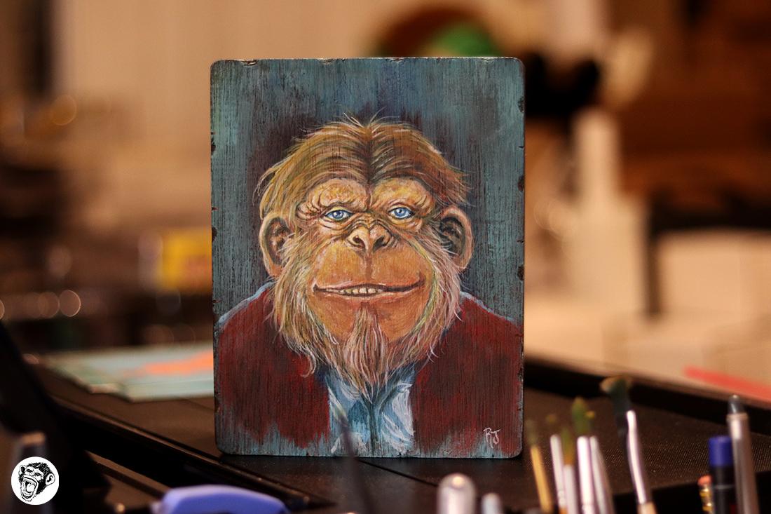 Fez Head - Acrylic on 5.5x7 inch wood box. Available at my shop: https://zerostreet.shop/ #ape #chimpanzee #lowbrowart #painting #acrylic #portraitpic.twitter.com/57i7qS1nFH