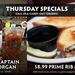 Thursday Prime Rib Melt Special! $8.99 Prime Rib Melt & $7 MEGA 32oz Captain Morgan drinks To-Go! Call In & Carry Out from our Bellevue, Elkhorn, Millard, & Plattsmouth locations: https://t.co/duqkoKx1Ac