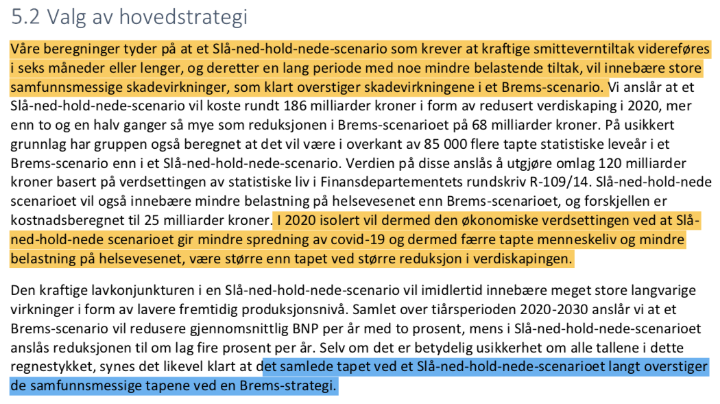 Bjorn Lomborg On Twitter Norway Has Made A Preliminary Estimate Of Costs And Benefits To Go For Long Term Suppression Vs Transitioning Towards A More Sweden Like Approach Quick Summary Short Term Lock Down Is Better