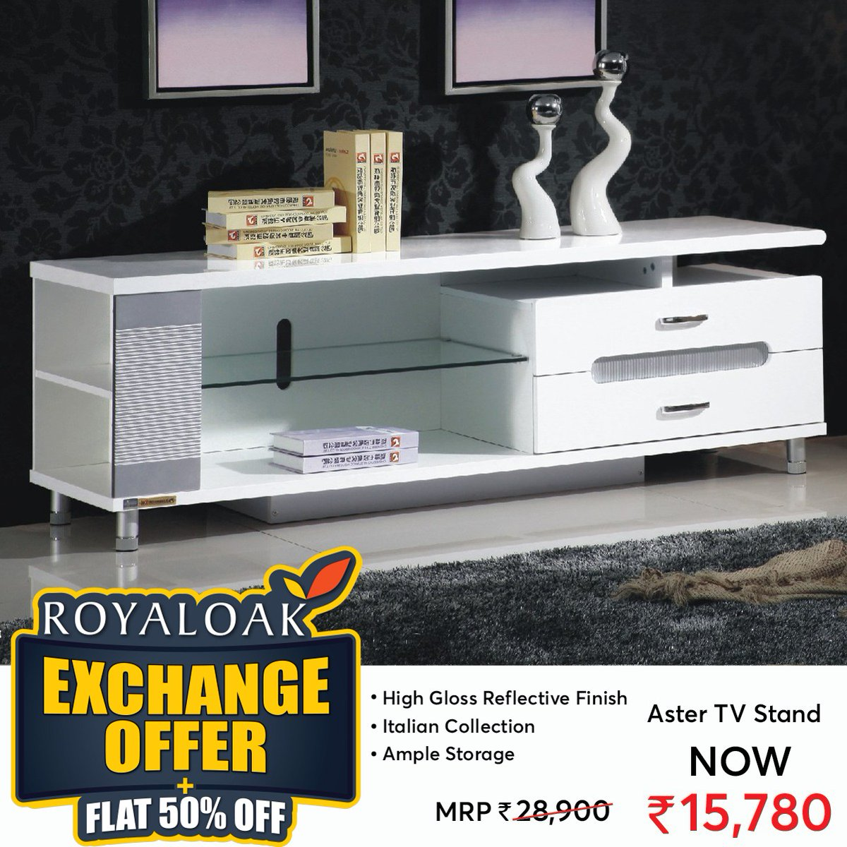Royaloak Furniture On Twitter Exchange Offers Plus Flat 50 Off On Entertainment Units Tv Cabinets Wall Units Online At A Low Price Free Shipping Assembly Visit Https T Co Msez7j314n Entertainmentunit Tvunit Tvstand