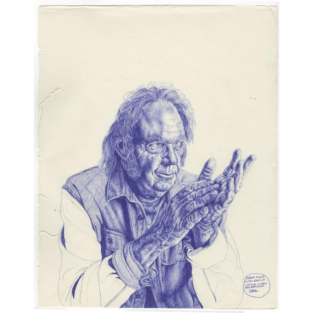 Old neil young biro sketch. . #art #illustration #bic #biro #bicbiro #ballpointpen #markpowell #markpowellart #fineart #gallery #realism #vintage #antique #classic #drawings #sketch #sketchbook #neilyoung