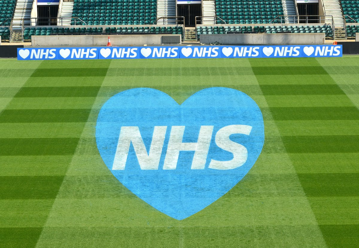 test Twitter Media - Before tonight's #ClapForCarers, the RFU has painted their tribute to the NHS on the Twickenham pitch 💙 https://t.co/sf4xmYeRMx