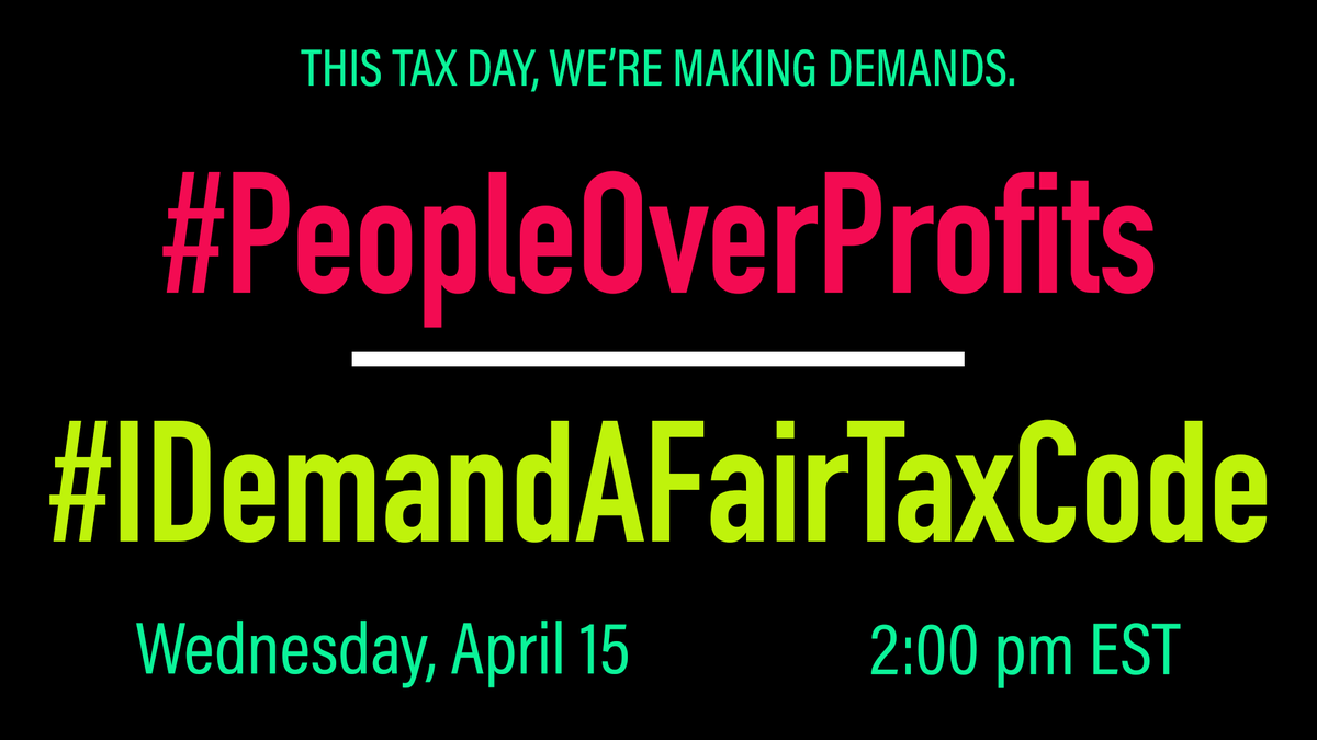 On April 15th, youd normally file your tax returns. This Tax Day, were banding with @TaxMarch, @PatrioticMills, @CoalitionHN & more to call out the Trump administrations profiteering off a global pandemic. Join us at 2pm EST / 11am PST!