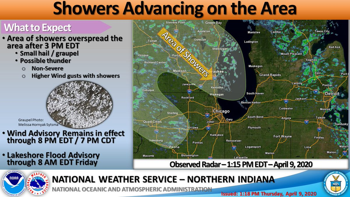 Radar Valid 1:15 PM EDT - 4/9/2020 - Showers forming over Wisconsin and Northern Illinois will push into northern Indiana and southern Lower Michigan by 3 PM EDT / 2 PM CDT. A clap of thunder cannot be ruled out and small hail or graupel will accompany some of the showers.