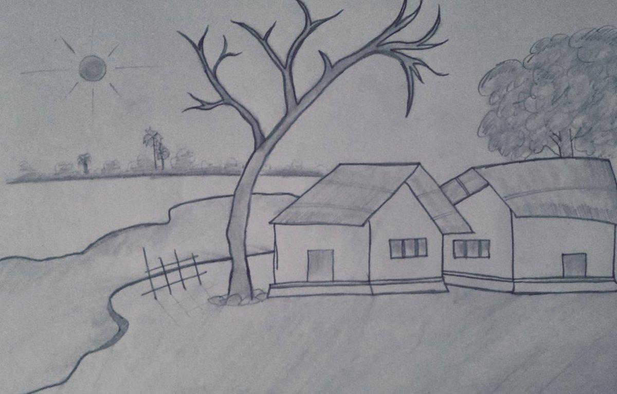 ଛୋଟ ମୋର ଗାଁ ଟି ଭୂଗୋଳ ପୋଥି ପତରେ ପଛେ ନ ଥାଉ ତାର ନା ଟି!!!💛 #village #pencilart #pencilsketch #lockdown #drawing #StayHomeStaySafe #indianvillage