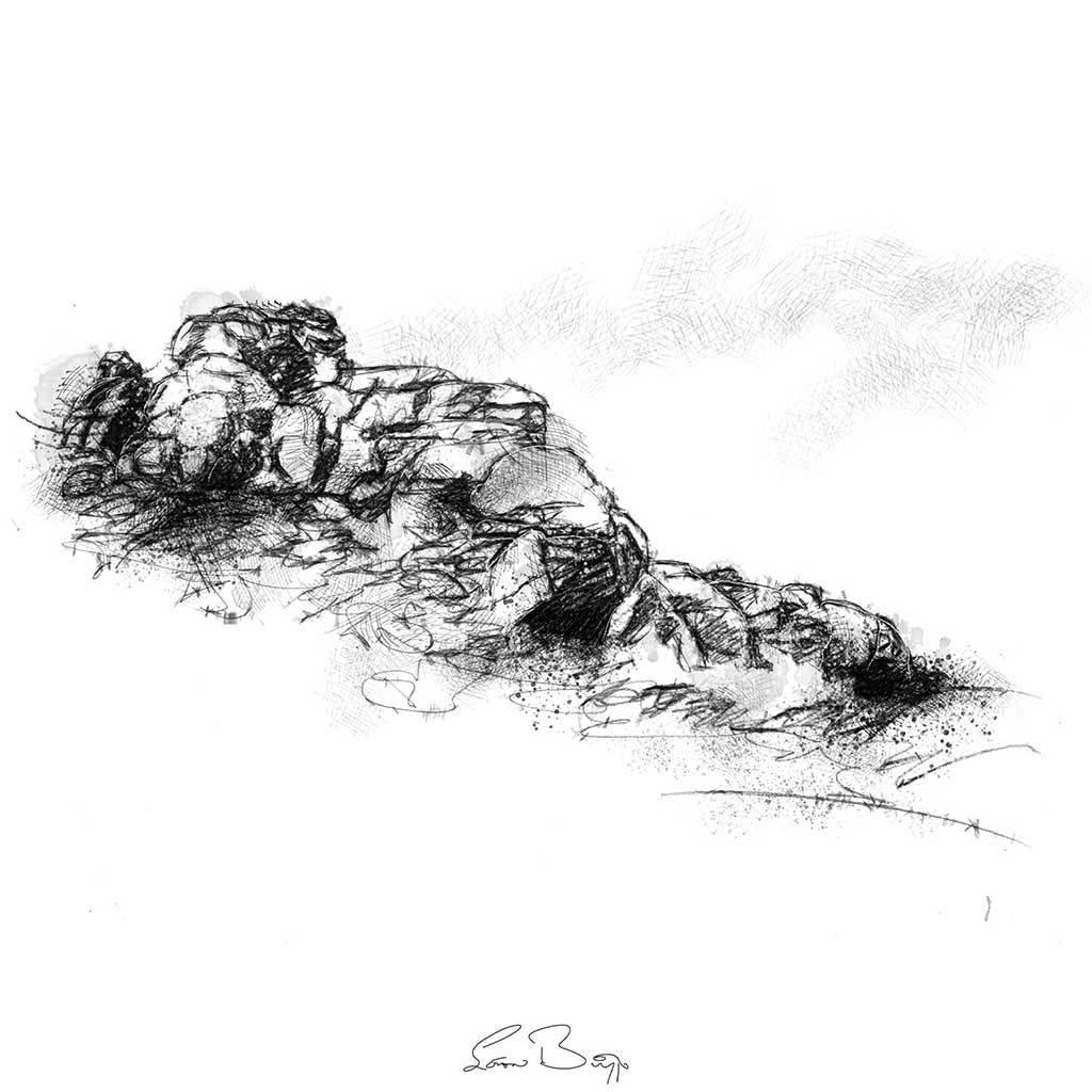 Dartmoor rocks sketch from artists Sean Briggs no 2276 #art #drawing #sketch