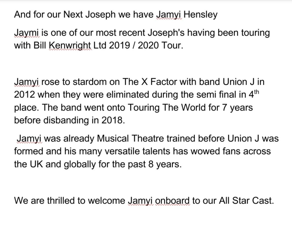 And for our next Joseph we have    Jamyi Hensley @JaymiUJWorld   Jaymi rose to stardom with band Union J and was already Musical Theatre trained before Union J were formed.  We are thrilled to welcome Jaymi onboard to our All Star Cast  👇🌈👇🌈👇🌈👇🌈👇🌈👇 https://t.co/VXiQidC4Zu