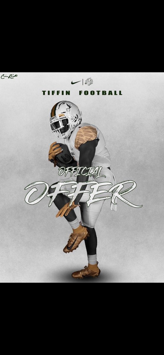 Blessed to receive my 1st official offer from Tiffin University!!!💛💚🤍Big thanks to @Coach_B10 https://t.co/4bJ6Vk9MRV