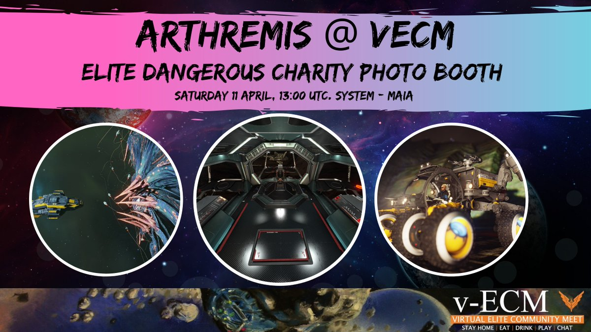 I'll also be running a photobooth in Elite Dangerous from 2PM BST! You're all welcome to come along to the system of Maia and get your ECM photos taken by myself, @ozric42 and @JamieMcKinnon7 in exchange for a small donation to @SpecialEffect or @HearingDogs!pic.twitter.com/9vrLwf0eM4