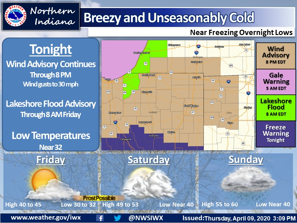Cold and blustery winds tonight will be accompanied by showers through early Friday morning. Skies clear and less wind Friday.