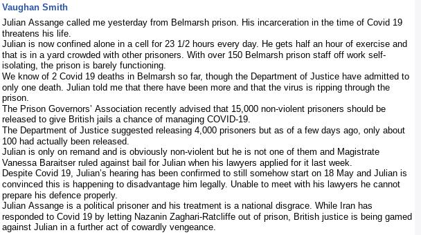 UK journalist @VaughanSmith posts his account of recent telephone conversation with incarcerated #JulianAssange https://m.facebook.com/708551525/posts/10157151239036526/?d=n&__ccr=ARbRgwQpeQO_jcrGp29iUCj5WspORoRv2wqvXYS9AwuC4A…  #coronavirus #FreePress #DontExtraditeAssange #BailAssangeUKpic.twitter.com/749eIA5ml0