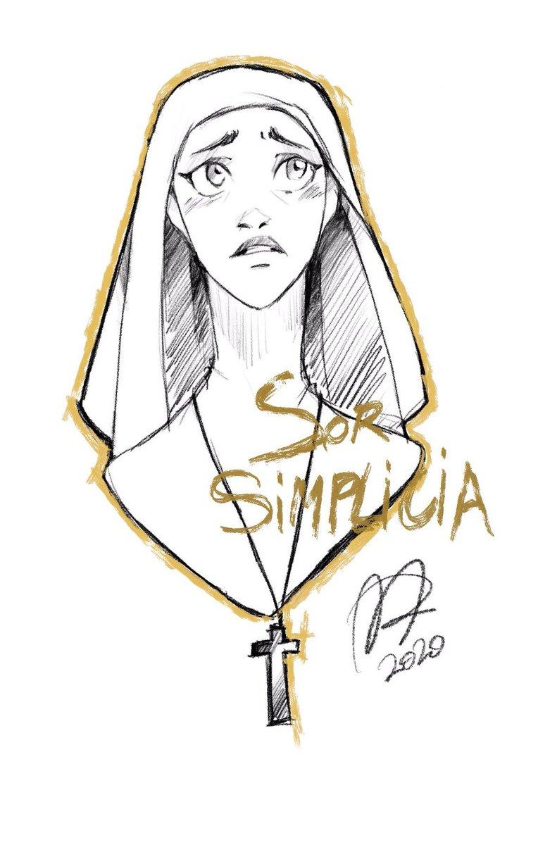 Como me apetecía dibujar y no sabía qué he hecho un boceto rápido (y estilo Disney) de Sor Simplicia (aprovechando que me estoy releyendo Los Miserables) pic.twitter.com/dSjKa58FRf