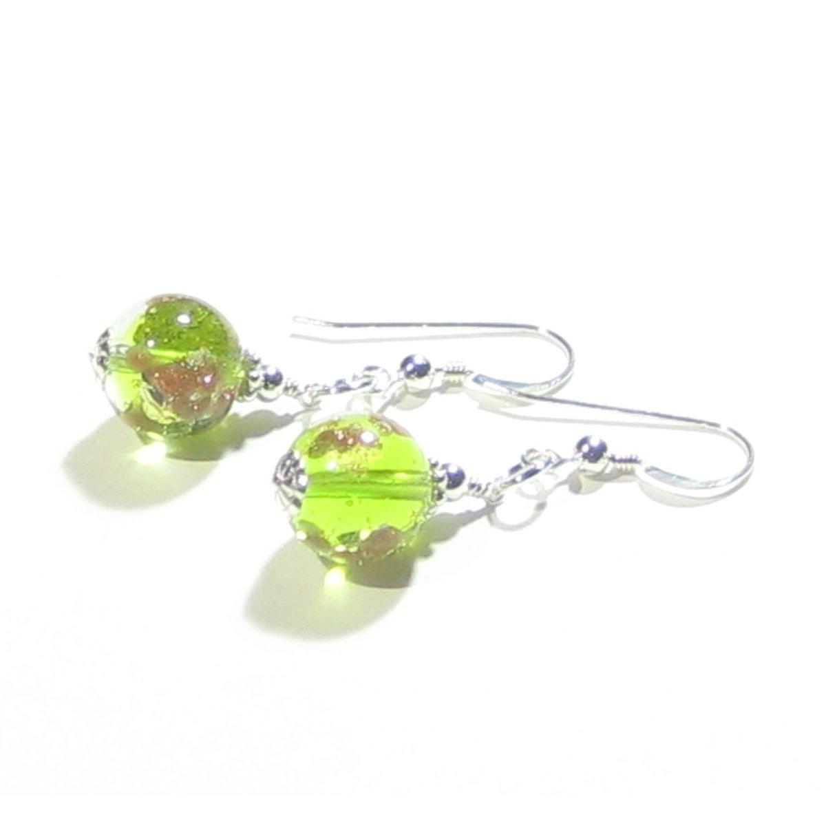 Murano Glass Lime Green Ball Gold Copper Silver Earrings  #fashion #earrings #etsymntt #handmade #jewelry #murano