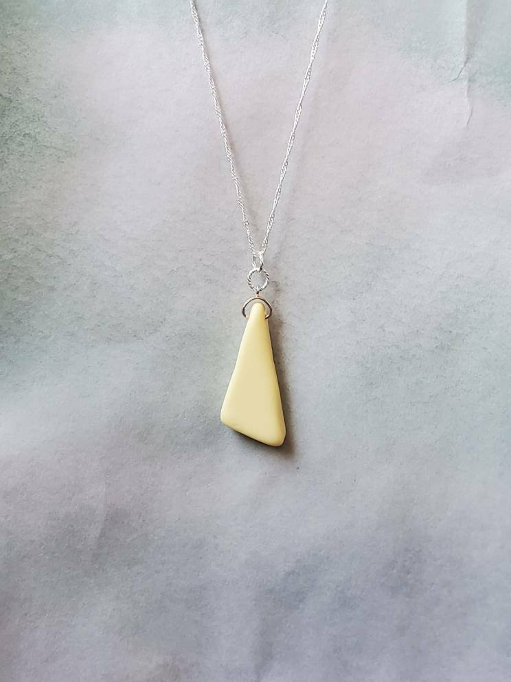 Extraordinary, #handmade genuine yellow & white #seaglassmilkglass and sterling silver necklace.