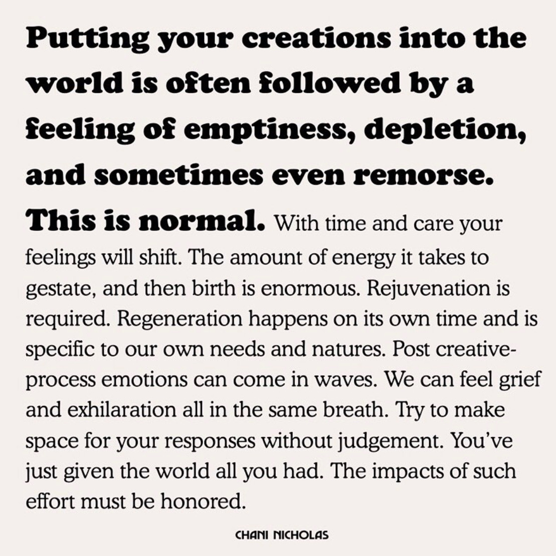 A friend shared this with me while I was in the midst of recording my album. (It couldn't have come at a better time.) Sharing it in hopes it might resonate with someone else.  #creatives #artists #musicians pic.twitter.com/rdgmqweDEP