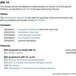 Image for the Tweet beginning: The #Java15 release schedule is