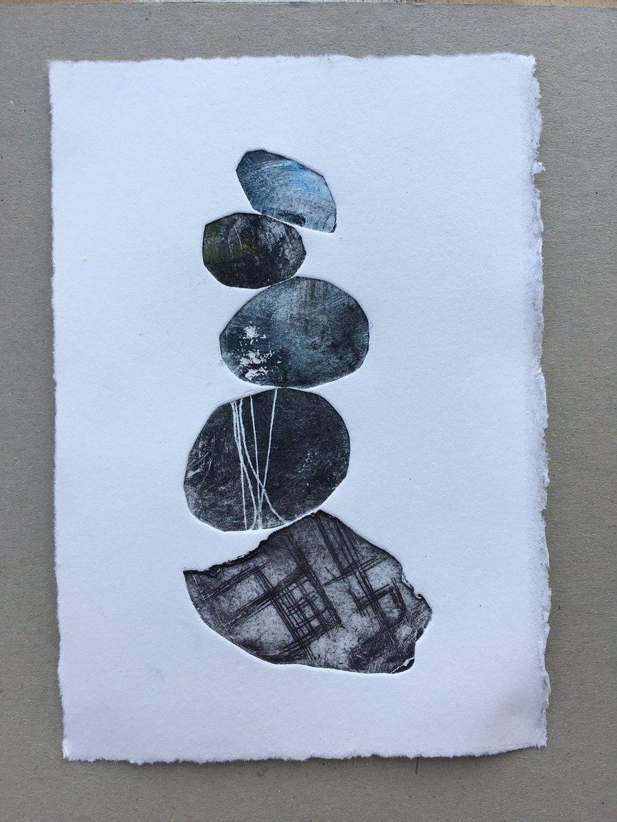 Pebble stack print #etching #intaglio unframed 10 x15cm £35 Somerset paper #artforsale #pebblestack #miniprint #contemporaryart #coast #devonpic.twitter.com/mwzlpn5pSI