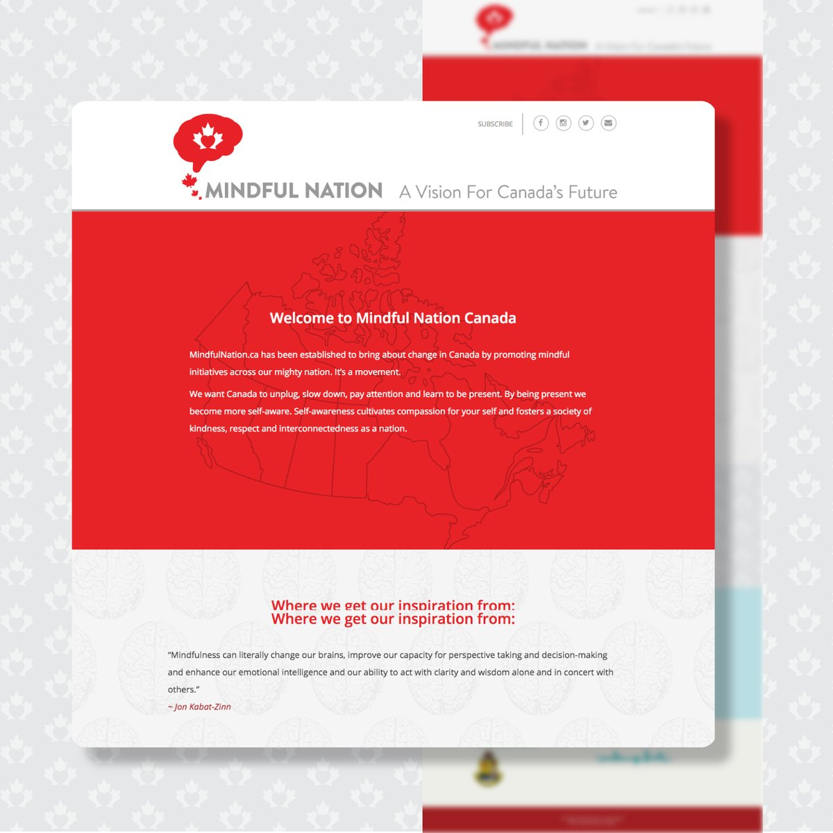 This is the #WebsiteDesign for Mindful Nation. An organization established to promote mindfulness across Canada. They want Canada to unplug, slow down, pay attention and learn to be present.  https:// bit.ly/2RqfxKY     #WebsiteDesign #WebsiteDesigns #WebDesign #WebDevelopment<br>http://pic.twitter.com/5GpDM3G2jM