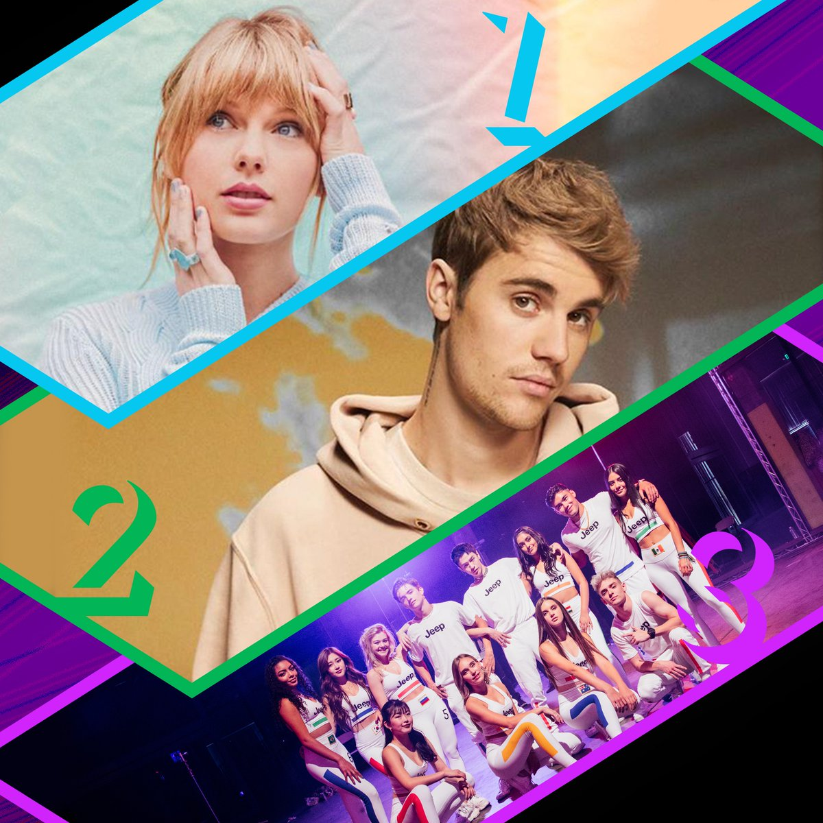 Here's Thursday's #RDTop3! 1. @taylorswift13 - #TheMan 2. @JustinBieber - #Intentions (f. @QuavoStuntin) 3. @NowUnitedMusic - #ComeTogether<br>http://pic.twitter.com/qLReOWSq6O