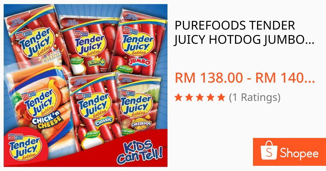 I'm selling PUREFOODS TENDER JUICY HOTDOG JUMBO/ COCKTAILS / CHEESEDOG /CLASSIC 1kg. for RM138.00. Get it on Shopee now! https://shopee.com.my/product/3201456/384300167?v=ba9&smtt=0.0.6… #ShopeeMYpic.twitter.com/A0LdG8jCA6