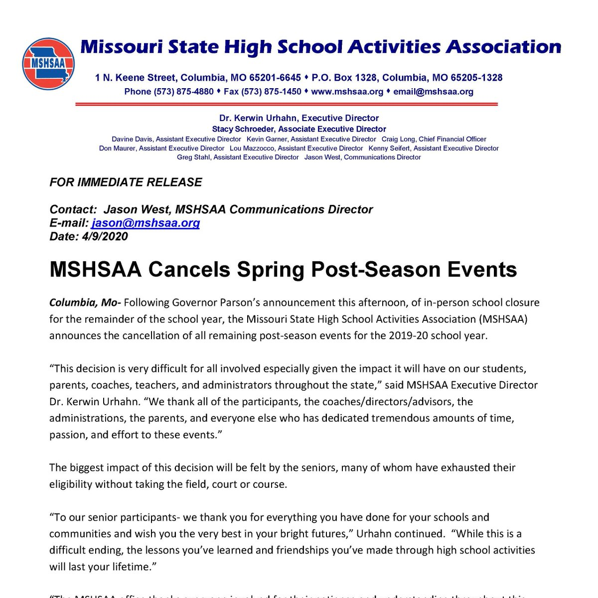 Spring Cancellation Press Release