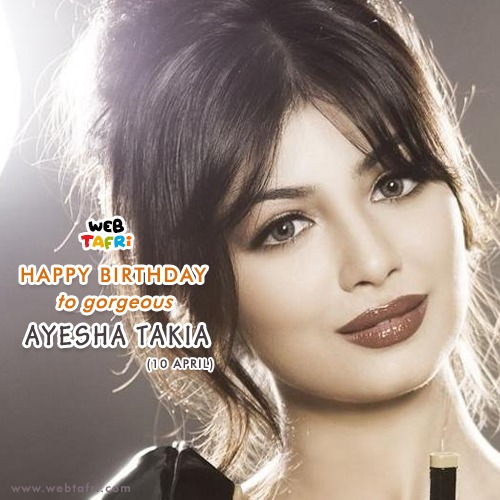 𝐇𝐚𝐩𝐩𝐲 𝐁𝐢𝐫𝐭𝐡𝐝𝐚𝐲 to our Dear 𝐀𝐲𝐞𝐬𝐡𝐚 !! The years are coming and going, but your charm can never be shattered, in fact, it increased day by day and keep increasing.  #AyeshaTakia #10April #bollywood #actress #celeritiesbirthday #beautifulactress #moviespic.twitter.com/jlozls7JHG