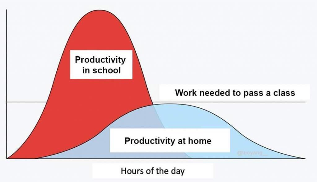 "Replace #school by #work and ""to pass a class"" by ""to get your job done"" and yes, we flattened the wrong #curve   #COVIDー19 #ThursdayThoughts #lockdown #WorkFromHome #StayHome"