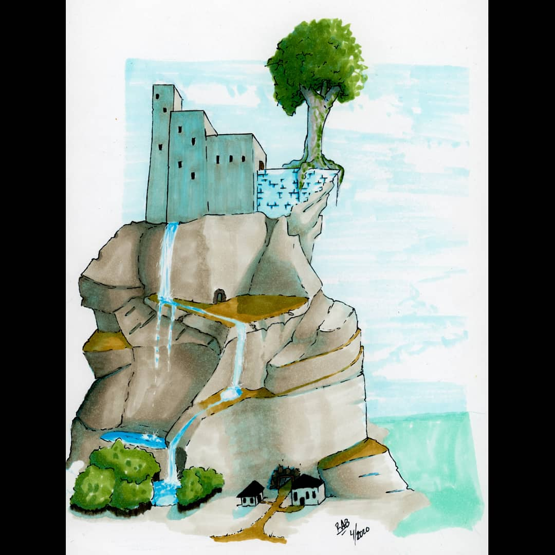 Seaside Fortress . . . . . #art #drawing #sketch #doodle #traditional #ink #copic #sketches #dailysketch #illustration #kidlitart #sketchy #inks #environmentdesign #fantasy #story #mkeart #castle #fortress #mountain #sea