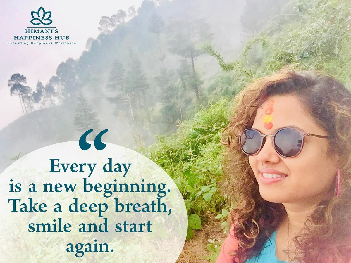 """Every day is a new beginning.Take a deep breath,smile and start again."" - Ms.Himani (Happiness Coach)  #thursdayvibes #thursdaymotivation #thursday  #perfect#quotes  #himanishappinesshub #himanihappinesshub #trainerhimani #corporatetraining  #corporatetrainer"