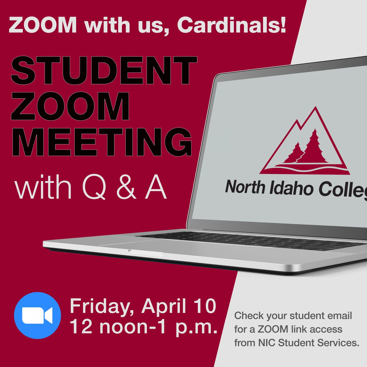 (2/2) Access the Zoom meeting with the link sent in today's email (4/9) by NIC's Student Services Office. See you there! #NIC #NorthIdahoCollege #NorthIdahopic.twitter.com/KDaCjh5Trp