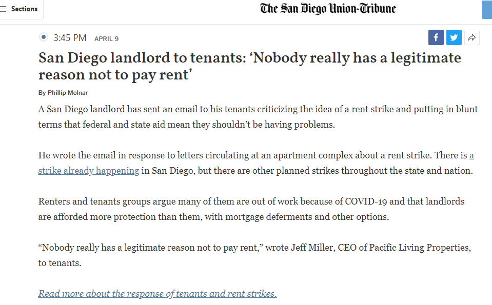 So yea, this is what's happening in San Diego, ya'll.  See also, reason number #13 why we can never rent in SD.  #RentStrike2020 #RentFreeze2020 #RENTRELIEF