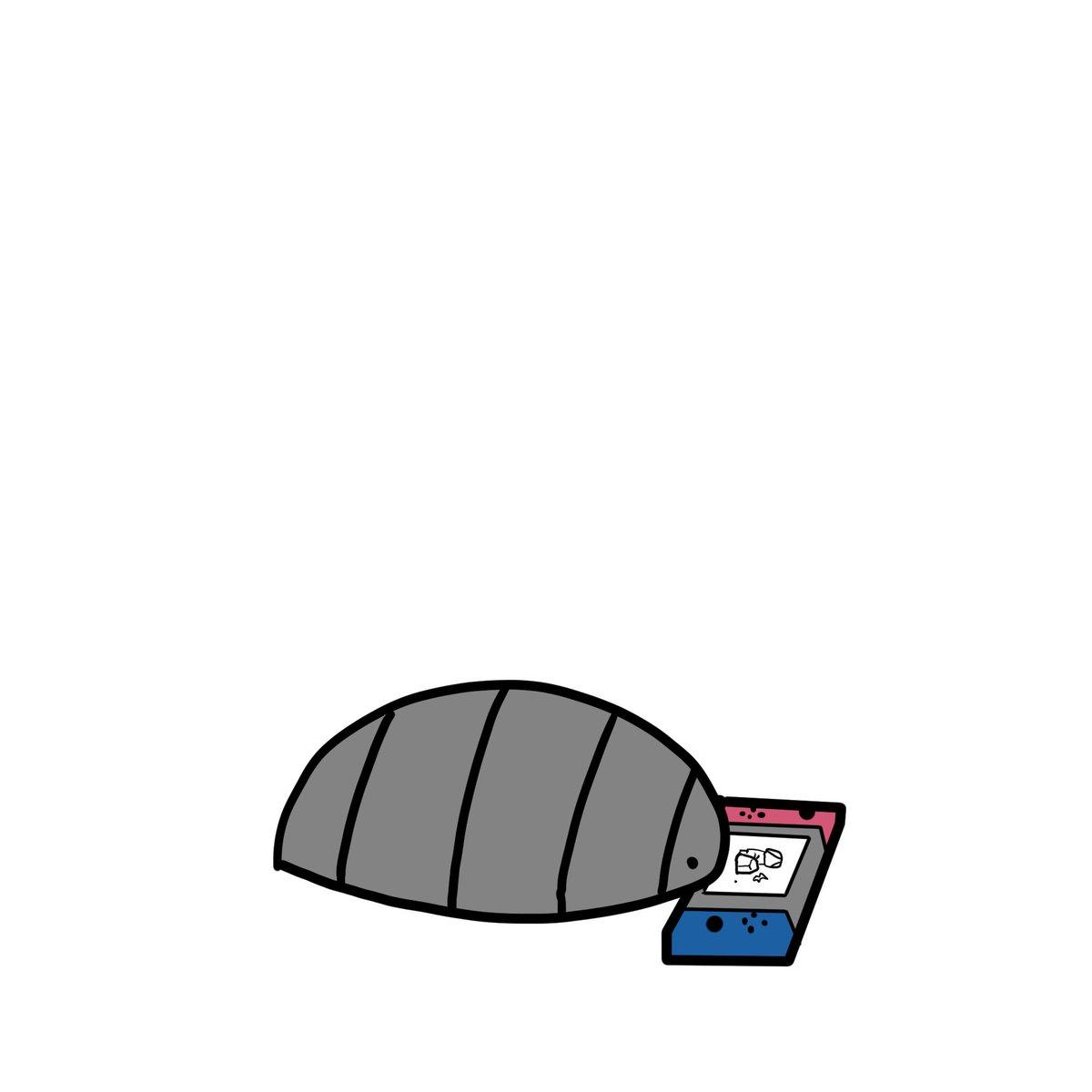 ゲームの岩を叩いたら飛び出したダンゴムシを見守るダンゴムシ。
