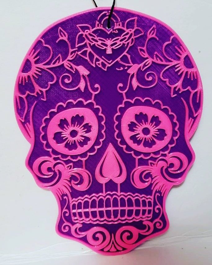 New larger sugar skull w/more decorations. printed on @Geeetech a10m, @colorme_3d purple haze and @ziro3dprint pink filament.  #3dprinting #3dprinter #3dprints #3dprinted #3dprintinglife #3dprintinglifestyle #ziro3dfilament #geeetecha10m #3dprint #3dprintingideas #3dprintingworld