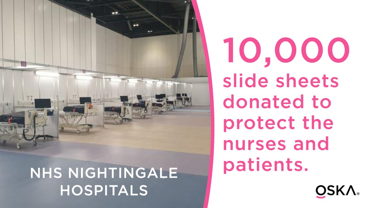 We are donating 10,000 slide sheets to the NHS Nightingale Hospitals to protect the nurses and patients.   #NHS #stayhomesaveslives #coronavirus #COVID19 #askOSKA #ChangingLives pic.twitter.com/zzh4StQM9g