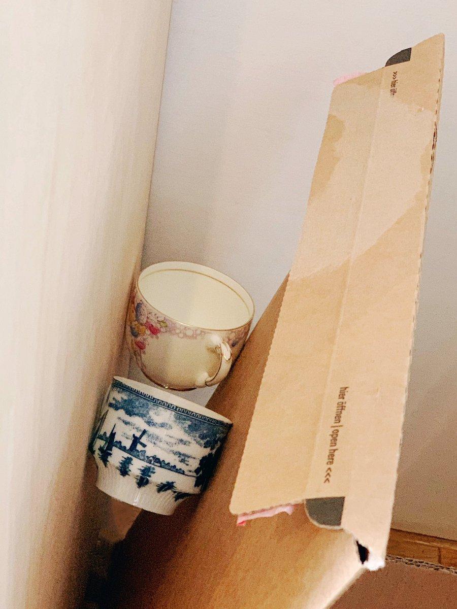 たったいま不注意で商品のカップがふたつ漫画みたいに宙を舞ったんですけど、偶然ここにスッ…と着地してくれて無傷だったので目に見えないなにかを信じたくなりました、今日もがんばろうね…