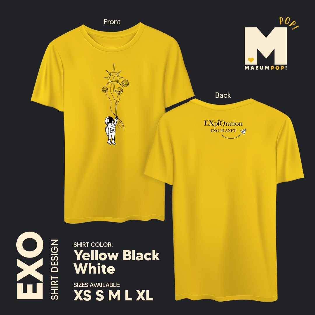 EXO Shirt Design  (Available On Hand) (Also open for pre-order)  Order Form:  http://bit.ly/EXplOrationInMnl…  Price:  390 + Shipping Fee  Available On Hand Sizes: Yellow Shirt - M - 2 pcs. Black Shirt - M - 2 pcs.  Sample Design Only.  Actual shirt and color may vary.pic.twitter.com/me64lM4p1B