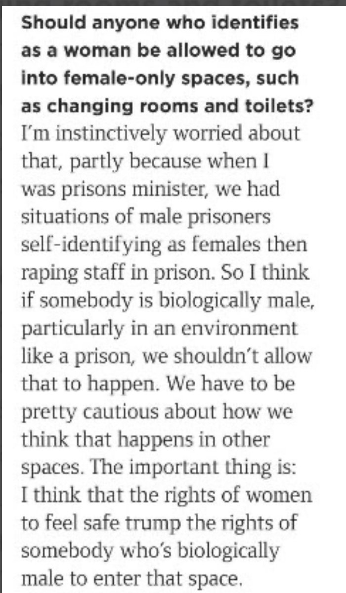 """@RoryStewartUK knows the dangers of sex self ID.   """"I think that the rights of women to feel safe trump the rights of somebody who is biologically male to enter [women's single sex spaces, like prisons]""""  A courageous political voice.   Thank you.  #SexNotGender"""