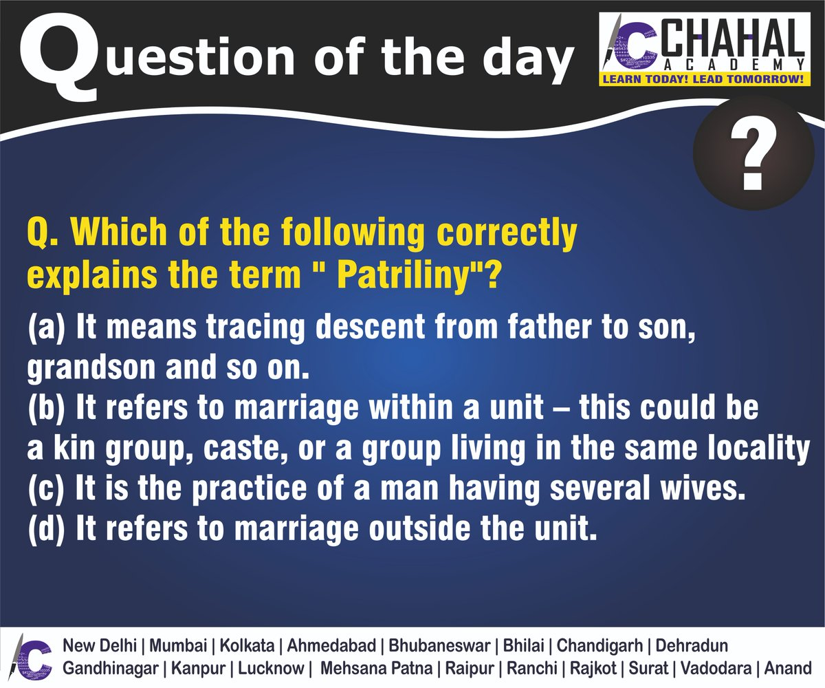 Question of the Day  Answer - A  #10thApril2020 #Questionoftheday #UPSC2020 #IPS #IBPS #governmentexam #Currentaffairs #iasquestion #UPSCQuestion2020 #dailyquiz #coachinginstitute #iascoachingcenter #IASquestions #civilserviceexam  Visit:- http://chahalacademy.compic.twitter.com/el0To9WqPq